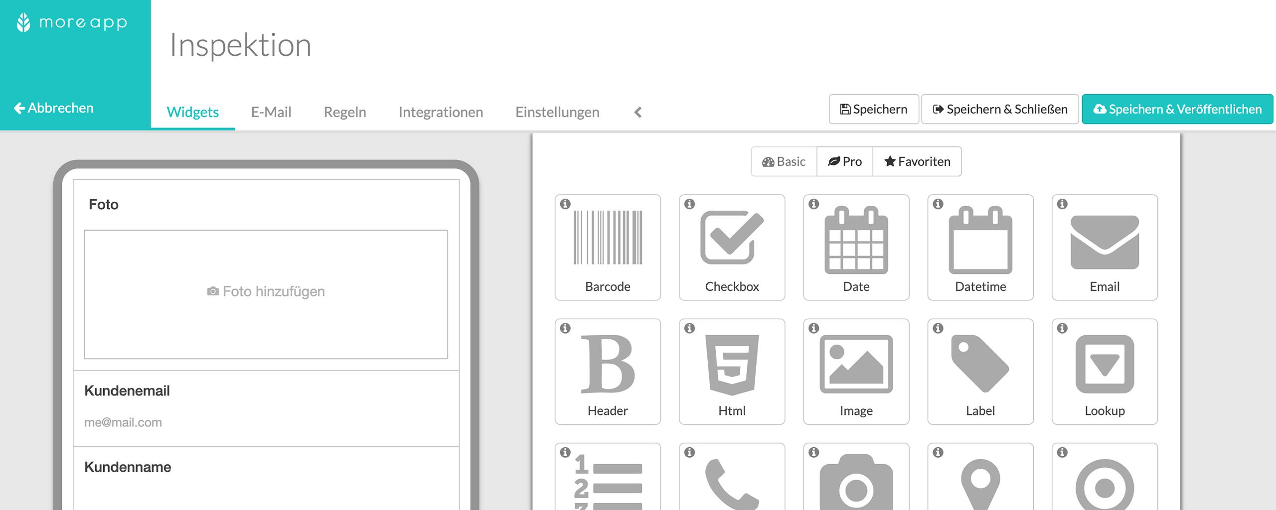 Form Builder Funktionen | MoreApp Formulare